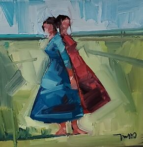 JOSE TRUJILLO Oil Painting IMPRESSIONISM FIGURES WOMEN SISTERS 12X12 MODERN ART