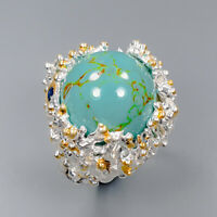 Turquoise Ring Silver 925 Sterling Jewelry Fashion Design Size 7.5 /R145336