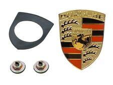 Porsche 911 914 927 OES Hood Emblem Kit Red & Black Enamel on Gold