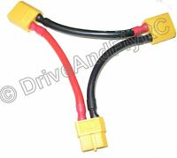 XT60 Male XT-60 Female Series Battery Connector Adapter  Li-Po Y cable 12AWG