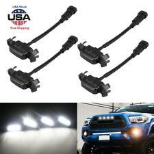 Smoked Front Grille LED Lights Kit For 16-up Toyota Tacoma +TRD Pro Grill White