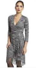 NWT Max And Cleo Woman Faux Wrap Knitted Dress SZ XS Retail 148$ Gray