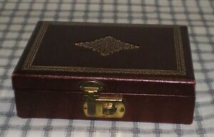 Vintage Dark Red Gold Embossed Latched Trinket Box Small Jewelry Box