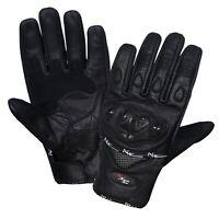 Summer Short Leather Knuckle Protection Motorbike Motorcycle Gloves Black