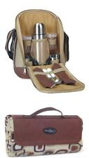 Picnic & Beyond Coffee Sling Tote for 2 & Waterproof Picnic Mat Blanket-New-Gift