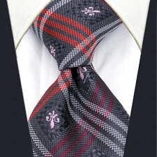 Mens Scottish Tartan Tie Premium Wedding Design - Grey Pink Red White Silver