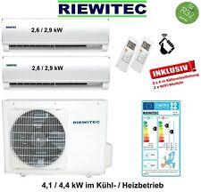 Dual MultiSplit 2x2,6KW RIEWITEC Klimaanlage 4,1/4,4KW, mit WiFi u. 4m K-Leitung