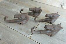 4 Rustic Horse Head Hooks Cast Iron Coat Hook Rack Restoration Hat Horsehead