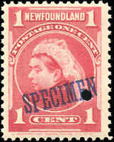 1897-1901 Canada SPECIMEN Mint NH Newfoundland 1c F+ Scott #79 Royal Stamp