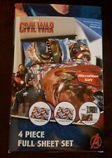 NEW MARVEL AVENGERS CAPTAIN AMERICA CIVIL WAR FULL SIZE SHEET SET MICROFIBER 4pc