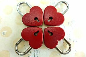 (4 pcs) Mini Padlock Heart Shaped Small Padlock with keys - RED COLOR