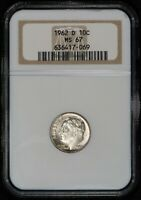 1962-D 10c SILVER ROOSEVELT DIME, HIGH-GRADE COIN *NGC MS 67* LOT#V315