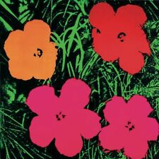 Flowers (sm) (1 Yellow, 1 Red, 2 Pink) Andy Warhol Art Print 2000 Poster 26x26