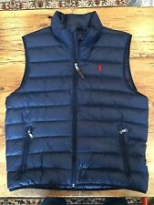 Ralph Lauren Polo Down Vest - Mens Size Medium Navy Blue With Red Pony