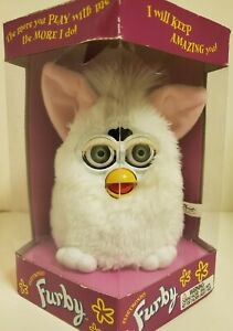 1998 Origional Furby 70-800 Electronic Interactive Toy. White snowball. Tiger