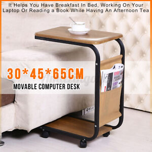 Computer Desk Laptop Hospital Bed Overbed Table Tray w/Rolling Wheels Simple USA