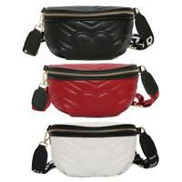 VS2# Punk Pure Rivet Shoulder Waist Bags Fanny Packs Women Crossbody Chest Bags