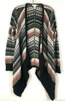 DESIGN HISTORY Women's Boho Open Front Cardigan Sweater Knit Sz:M Striped Print