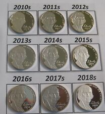 Complete Set Latest 9 Cameo Proof Jefferson Nickels 2010-s to 2018-s