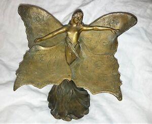 ANTIQUE ART NOUVEAU ca.1901 BRONZE SCULPTURE by FRANCIS RENAUD 'Winged Lady'