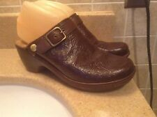 NURTURE BROWN FLORAL LEATHER WEDGE CLOGS WOMEN'S SIZE 7 M (55 BAND)