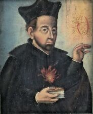 16th or 17th Century Oil Painting on board, Portrait of Saint, unsigned.