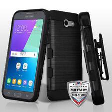 Black Brushed Armor Hybrid Holster Cover Phone Case Samsung Galaxy J3 Luna Pro