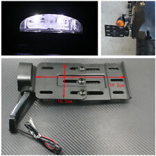 Black Telescopic Folding LED Light Side Mount License Plate Bracket for Harley