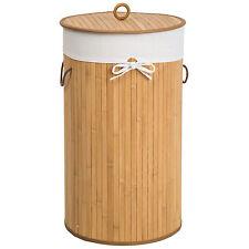 Cesta de bambú para la ropa 57L colada baño cesto madera pongotodo ronda natural