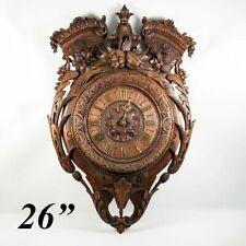 "Superb Antique Hc Wood French Wall Clock, 26"" x 17"", Pendulum, Fruit & Acanthus"