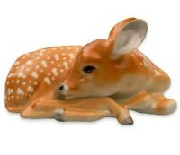 Lying Brown Fawn Deer Figurine by Russian Imperial Porcelain,Lomonosov Sculpture