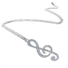 Crystal Chain Necklace Pendant Treble Clef Music Note Long Necklace for wom C2B8