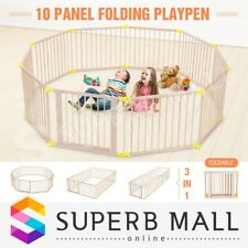 New Large Wooden Baby Playpen Toddler Kid Safety Yard Child Pet Barrier 10 Panel