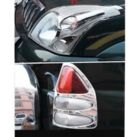 4x Chrome Front Head Light Rear Light Cover Trim For Toyota Prado Fj120 03-09