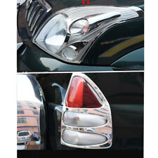 4x Chrome Front Head Light Rear Light Cover Trim For Toyota Prado Fj120 03-09