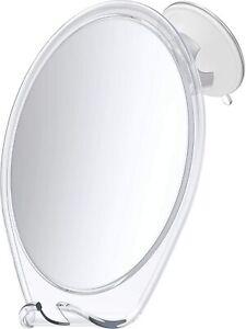 Shower Mirror for Shaving Fogless with Suction, Razor Holder & Swivel (White)