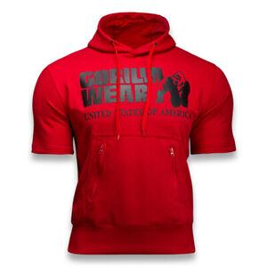 Gym Fitness Hoodie Men Short Sleeve Sweatshirt Bodybuilding Workout Cotton Vest