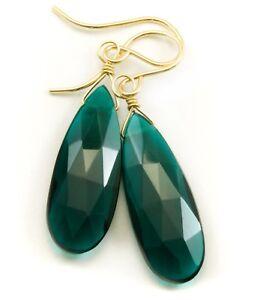 Tourmaline Sim Earrings Teal Blue Green Dark Long Teardrops Sterling 14k Gold