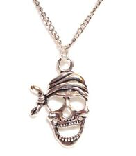 "PIRATE SKULL_Pendant on 20"" Chain Link Necklace_Skeleton Goth Punk Silver_136N"