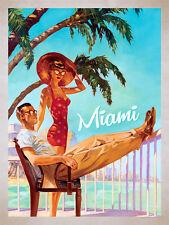 Miami, rétro en métal aluminium SIGNE VINTAGE/man cave/garage