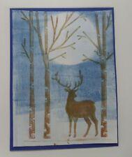 Breath-taking BIRCH TREES WOODS MAJESTIC DEER winter emboss folder + Stampin Up
