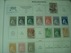 Unpicked MOZAMBIQUE & COMPANY Stamp Collection on Scott Int'l album pages 1877