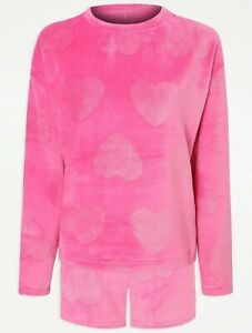 Womens pink heart fleece pyjamas set/ All sizes available/new stock