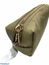 Neiman Marcus Cosmetic Zippered Pouch/Pencil Case Gold Hardware.Tan.NWT.