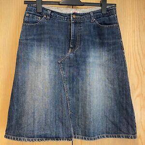Cath Kidston Ladies Denim Skirt Size 12 Knee Length Blue A-Line Buckle Back