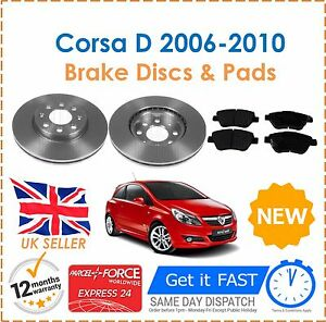 For Vauxhall Corsa D 1.2 1.4 2006-2010 TWO Front Vented Brake Discs & Brake Pads