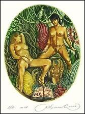 Kirnitskiy Sergey 2007 Exlibris C4 Erotic Erotik Nude Nudo Woman Bird Parrot 148