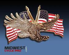 Gold Eagle & Flags Emblem - Great for Vintage Cars or Trucks (#91-6207G)