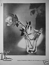 PUBLICITÉ 1955 VASE CRISTAL DE DAUM - ADVERTISING