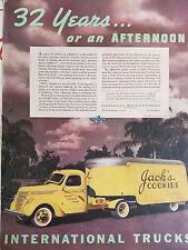 1938 Yellow International Harvesters Truck Company Jacks Cookies Original Ad